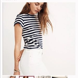 Madewell Velour Crewneck Tee Striped in Meg